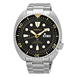 Seiko Turtle Prospex Automatic Dive Watch with Black Dial and Stainless Steel Bracelet