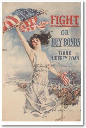 Fight or Buy Bonds - Third Liberty Loan - Vintage WWI Reproduction - Bond Loan
