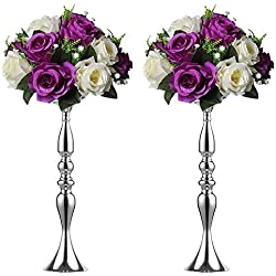 2 Pieces 50cm Height Metal Candle Holder Candle Stand Wedding Centerpiece Event Road Lead Flower Rack (Silver x 2)