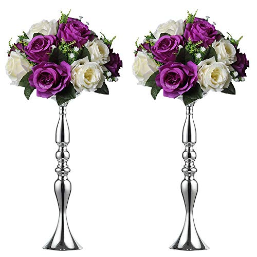 (2 Pieces 50cm Height Metal Candle Holder Candle Stand Wedding Centerpiece Event Road Lead Flower Rack (Silver x 2))