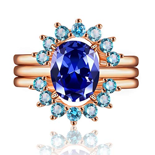 JIANGYUE 3 Piece Ring Set for Women Rose Gold Plated Blue Cubic Zirconia Two Mint Green Crown Engagement Wedding Promise Bands Best Promise Size 8 ()
