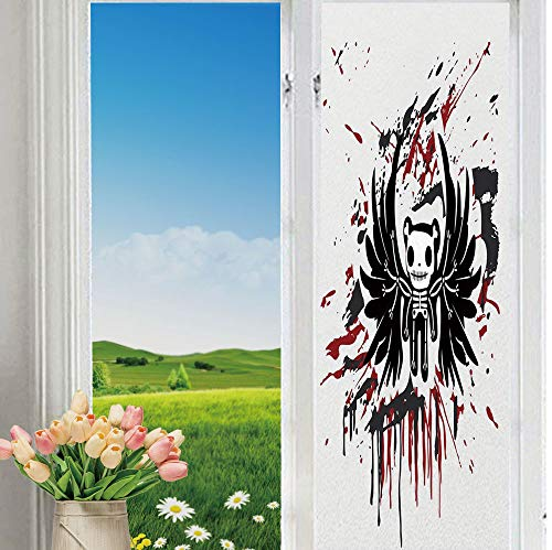 YOLIYANA The Shading Window Films Non-Toxic Halloween Teddy Bones with Skull Face and Wings Dead Humor Funny Comic Terror Design for Bathroom Bedroom 70