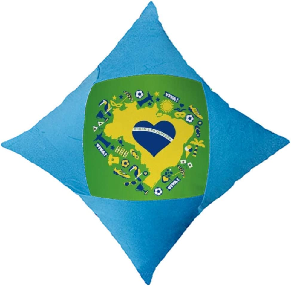 cold master DIY lab Heart-Shaped Orderm Brazil Maps Throw Pillow Blue Case Cover Car Bed Decorative