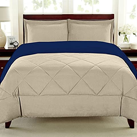 Sweet Home Collection 3 Piece Reversible Polyester Microfiber Goose Down Alternative Comforter Set with Pillow Shams, King, - Blue Reversible Comforter