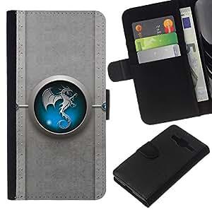 All Phone Most Case / Oferta Especial Cáscara Funda de cuero Monedero Cubierta de proteccion Caso / Wallet Case for Samsung Galaxy Core Prime // Blue Tribal Dragon Yin yang
