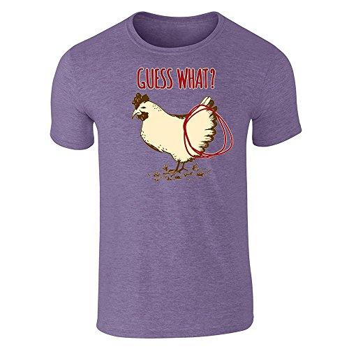 Pop Threads Guess What? Chicken Butt Funny Heather Purple XL Short Sleeve - Usa Online Guess