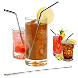 UltraByEasyPeasyStore 25 Curved Metal Straws & 4 Cleaning brushes Reusable Washable NON-TOXIC Stainless Steel Drinking Straws (25)