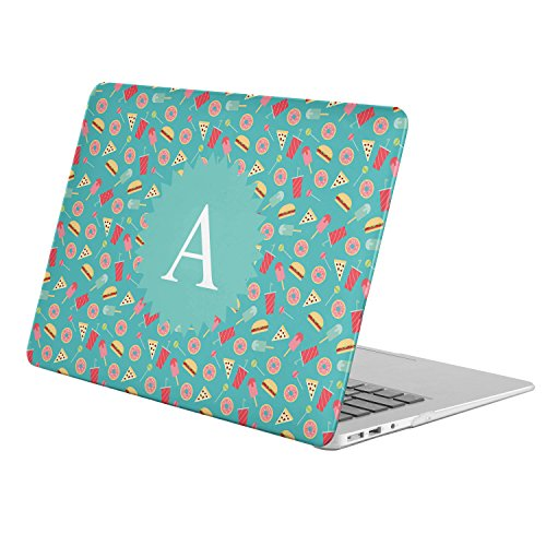 [ A - INITIAL ] [ Name Monogram Full Body Hard Case ][ Apple Macbook 12'' with Retina Display (Model: A1534) ] - [ Sweets Fast Food Pattern ] by KoolMac