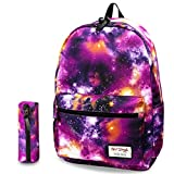 hotstyle TRENDYMAX Galaxy Backpack Cute for School | Purple | Bundles with Matching Pencil Bag