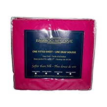 Bamboo Reserve Twin, Double, Queen and King Fitted Sheets in Assorted Colours (Double/Full, Hot Pink)
