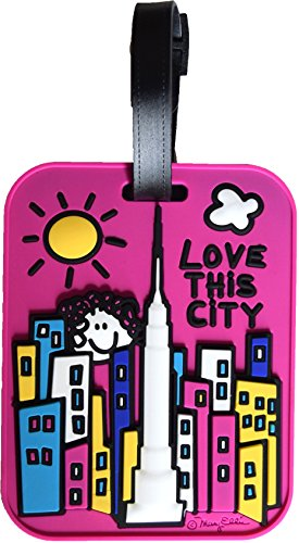 New York Luggage Tag NY Bright Pink Love This City Fun Face Large Heavy Duty Rugged Durable Travel Bag ID Tag