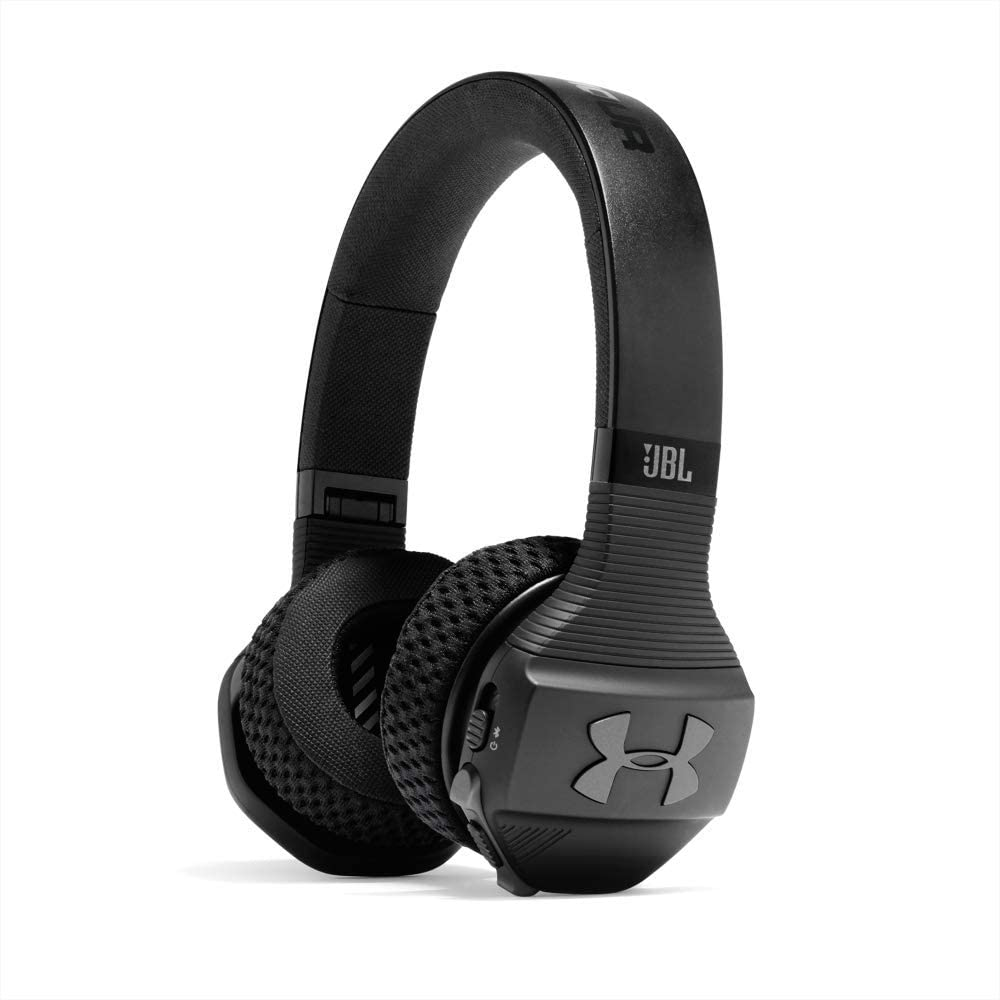 JBL Under Armour Sport Wireless Train – On-Ear Bluetooth Headphones with Microphone made for Sport. Wireless Headset with IPX4 Sweatproof, works with Android and Apple iOS (Black/Gray)