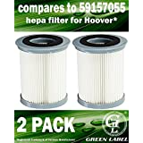 2 Pack HEPA Filter for Hoover Elite Rewind Upright Vacuum Cleaners (compares to 59157055). Genuine Green Label Product.