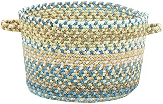 """product image for Capel Rugs Kill Devil Hill Braided Basket, 16"""" x 9"""", Light Blue"""