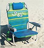 Tommy Bahama Backpack Cooler Chair with Storage Pouch and Towel Bar ( Green/Blue Stripe)