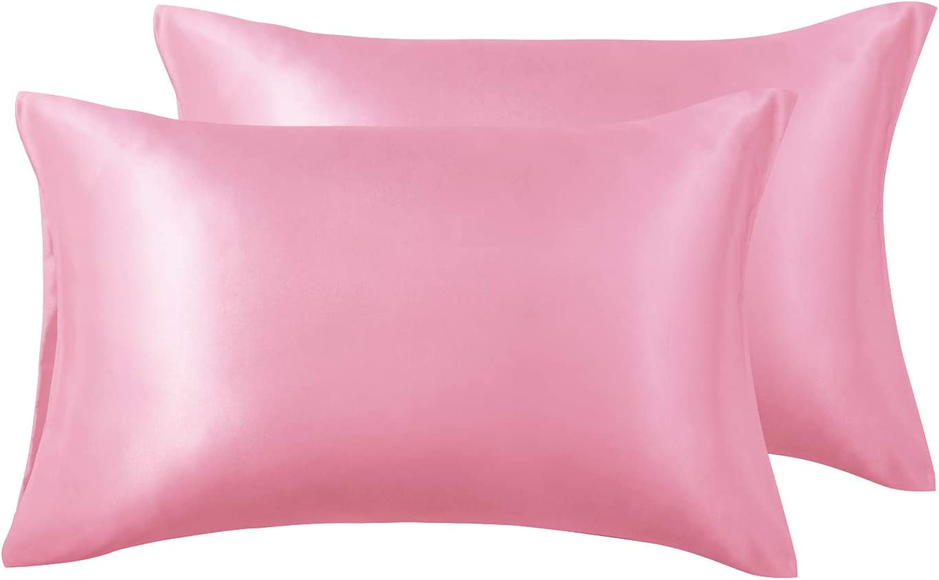 Love's cabin Silk Satin Pillowcase for Hair and Skin (Pink, 20x40 inches) Slip King Size Pillow Cases Set of 2 - Satin Cooling Pillow Covers with Envelope Closure
