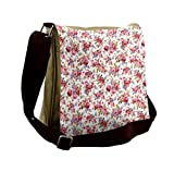 Lunarable Flower Messenger Bag, Shabby Rose Wedding Theme, Unisex Cross-body
