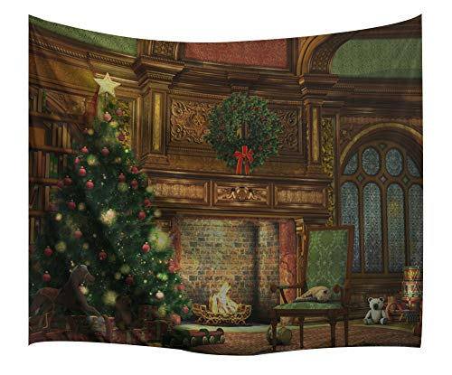 Christmas Decorations Tapestry Wall Hanging by IMEI, 3D Xmas Print Fabric Holiday Wall Art Hanging for Living Room Office College Dorm and Bedroom Mural (90 X 60 Inch, Fireplace Xmas Tree)]()