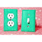SET Of WINTER MINT Glitter Switch Plate & Glitter Outlet Covers. ALL Styles Available!