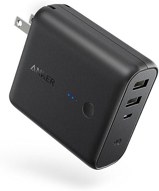 Anker PowerCore Fusion 5000 (5000mAh モバイルバッテリー搭載 USB急速充電器) 【PSE認証済/PowerIQ搭載/折りたたみ式プラグ搭載】 iPhone、iPad、Android各種対応 (ブラック)