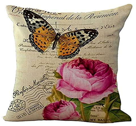 Floral Butterfly Cushion Cover ChezMax Cotton Linen