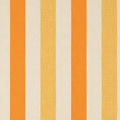 Sherbet Yellow Orange Spice Off White Multi Color Print Pattern Stripes NFPA 701 Fr Prints Environment Plus Green Upholstery Fabric by The Yard