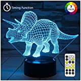 ZOKEA Night Lights for Kids Dinosaur 3D Night Light Bedside Lamp 7 Colors Changing with Remote...