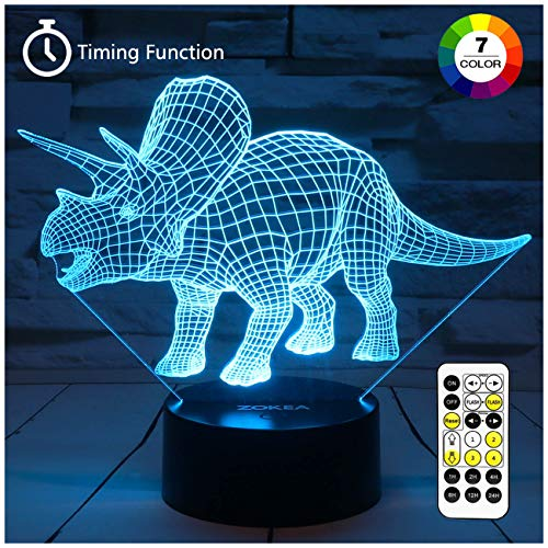 ZOKEA Night Lights for Kids Dinosaur 3D Night Light Bedside Lamp 7 Colors Changing with Remote Control Best Birthday Gifts for Boys Girls Kids Baby (Dinosaur Triceratops) (Best Gifts For 3 Year Old Boy)