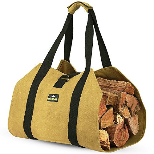 ForestWonder Log Carrier Firewood Tote Wood Carrying Bag for Fireplace 16oz Waxed Canvas - Long Heavy Duty Handle and Security Strap - Water Resistant for Outdoor Indoor