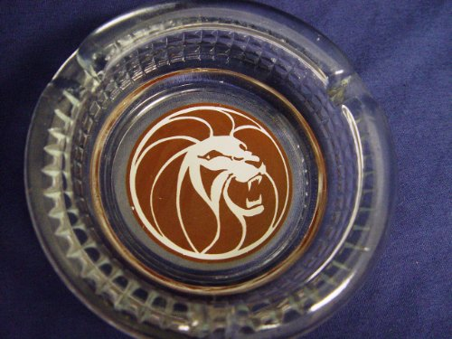 (Collectible Vintage MGM Grand Clear Glass Ashtray 4.5