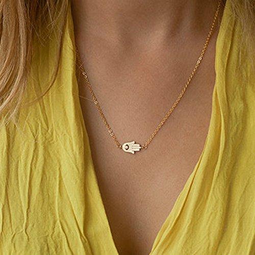 JY Jewelry Gold Tone Simple Hand of Fatima Hamsa Clavicle Chain Necklace