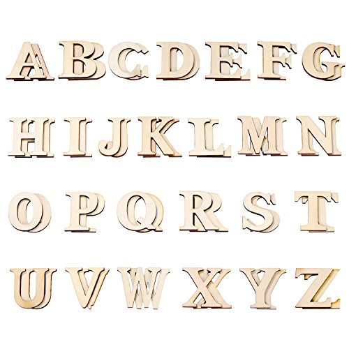 Hicarer 52 Pieces Wood Letters Wooden Alphabets Letter Craft Pieces for DIY Wedding Display Decor (Capital)