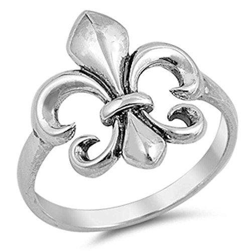 Fleur de Lis Plain .925 Sterling Silver Ring Size 6