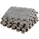 Dooboe Interlocking Foam Mats – Interlocking Carpet Tiles - Plush Carpet Area Rug - Carpet Interlocking Floor Tiles – Gray - Non-Toxic, Anti-Fatigue, Premium Puzzle Floor Mat