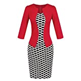 Birdfly Office Women's Plaid Patchwork Pencil Skirts Formal Working Dress with Three Quarter Sleeve.Plus Size 2L 3L (M, Red(93))