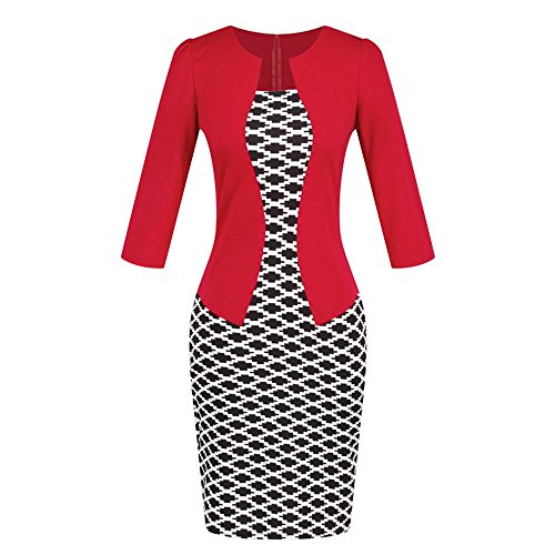 Birdfly Office Women's Plaid Patchwork Pencil Skirts Formal Working Dress with Three Quarter Sleeve.Plus Size 2L 3L (S, Red(93)) ()