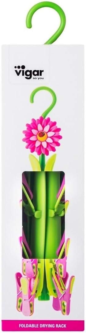 Verde y Magenta Dimensiones: 10.5 x 10.5 x 41 cm Goma ABS VIGAR Flower Power Tendedero Plegable Material: PP 12 Unidades