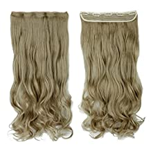 24 Inches Ash Blonde Curly One Piece Clip in Hair Extensions (3/4 Full Head 5 Clips) Clip Ins Hairpiece for Women Lady Girl
