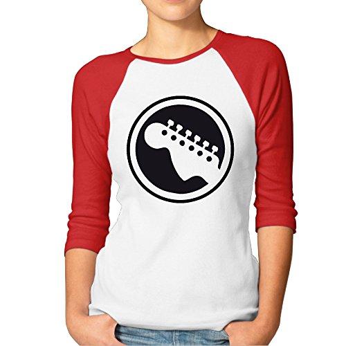 Fashion Womens Top Guitar Icon Cool Musician Music Lover Plain Raglan T Shirt 3/4 Sleeve