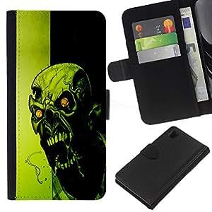 [Neutron-Star] Modelo colorido cuero de la carpeta del tirón del caso cubierta piel Holster Funda protecció Para Sony Xperia Z1 L39 [Crazy Evil Zombie]