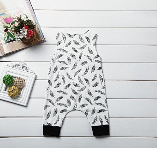 ITFABS Newborn Infant Baby Boy Girl Jumpsuits Feather Print Leggings Romper Outfits (80(3-6months), White)