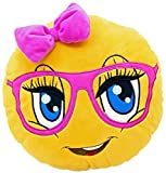 Toys : New Emojis New Smiley Emoticon Cushion Pillow Stuffed Plush Toy Doll Poop Emoji Face Bed Pillow Home Living Room Decoration Pillows USA SELLER (13X13X2 Inch, Cute Girl)