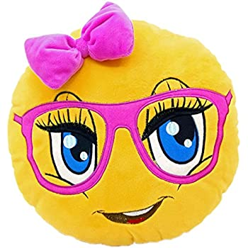 New Emojis New Smiley Emoticon Cushion Pillow Stuffed Plush Toy Doll Poop Emoji Face Bed Pillow Home Living Room Decoration Pillows USA SELLER (13X13X2 Inch, Cute Girl)