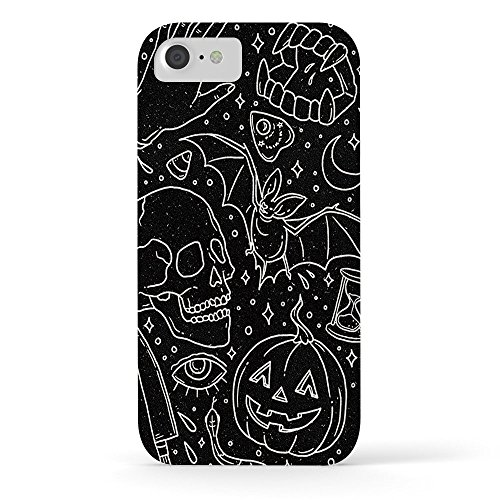 EZON-CH Customize Personalize Smooth Skin Halloween Horrors Black Waterproof Slim Protective PC Phone Case Cover Phone Protector For Iphone 8 With Tempered Glass Screen Protector]()