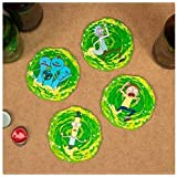 Paladone Rick and Morty 3D Set of 4 Drink Coasters, Multi Colored