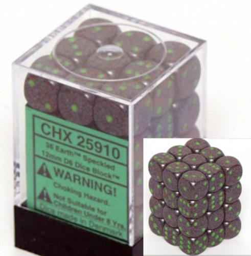 Chessex D6 Speckled - Chessex Dice d6 Sets: Earth Speckled - 12mm Six Sided Die (36) Block of Dice