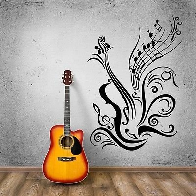 V-studios Music Vinyl Decal Guitar Notes Cool Decal for Room Wall Stickers VS965