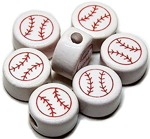Luxury & Custom {13mm} of Approx 25 Individual Loose Medium Size Flat Round Circle Beads Made of Genuine Ceramic w/Hand Painted Athletic Sports Baseball Design {White, Red}