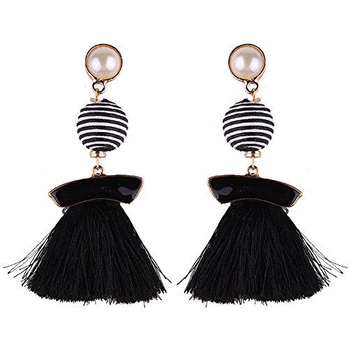 d Fringe Long Dangle Earrings Soriee Drop Earrings Beaded Tassel Ear Drop Studs (All Black) (Black Bead Drop Earrings)