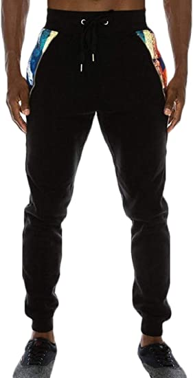 OTW Mens Basic Zipper Athletic Drawstring Elastic Waist Long Pants